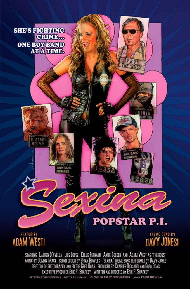 """Sexina: Popstar P.I.  Medium: Acrylic paints and colored pencils on gessoed board Size: 30 x 40 inches Year 2007 Signed lower left edge """"drew"""" © Copyright Sharkey Productions 2007"""