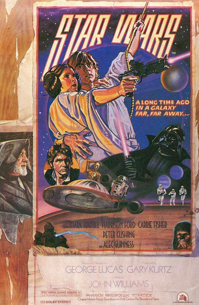 Star Wars  Medium: Oils on gessoe and dyes on board Size: 30x40 inches Year 1977 Star Wars is an epic space opera franchise initially conceived by George Lucas during the 1970s and significantly expanded since that time. The first film in the franchise was simply titled Star Wars, but later had the subtitle Episode IV: A New Hope added to distinguish it from its sequels and prequels. Star Wars was released on May 25, 1977 by 20th Century Fox, and became a worldwide pop culture phenomenon, initially spawning two sequels. Twenty-two years after Star Wars was released, Lucas began the release of a second trilogy as a prequel to the original trilogy. This is quite a famous piece. It came to be known as the White/Struzan piece (both artists worked on it)and as the Circus Poster. This particular piece was not only George's favorite piece of art but also became infamous as it was lost, disappeared for 30 years. Found at last Drew and Charlie gave it to George as a gift of friendship. Signed lower right by both Drew and Charlie White. © Copyright Lucasfilm LTD. 1977