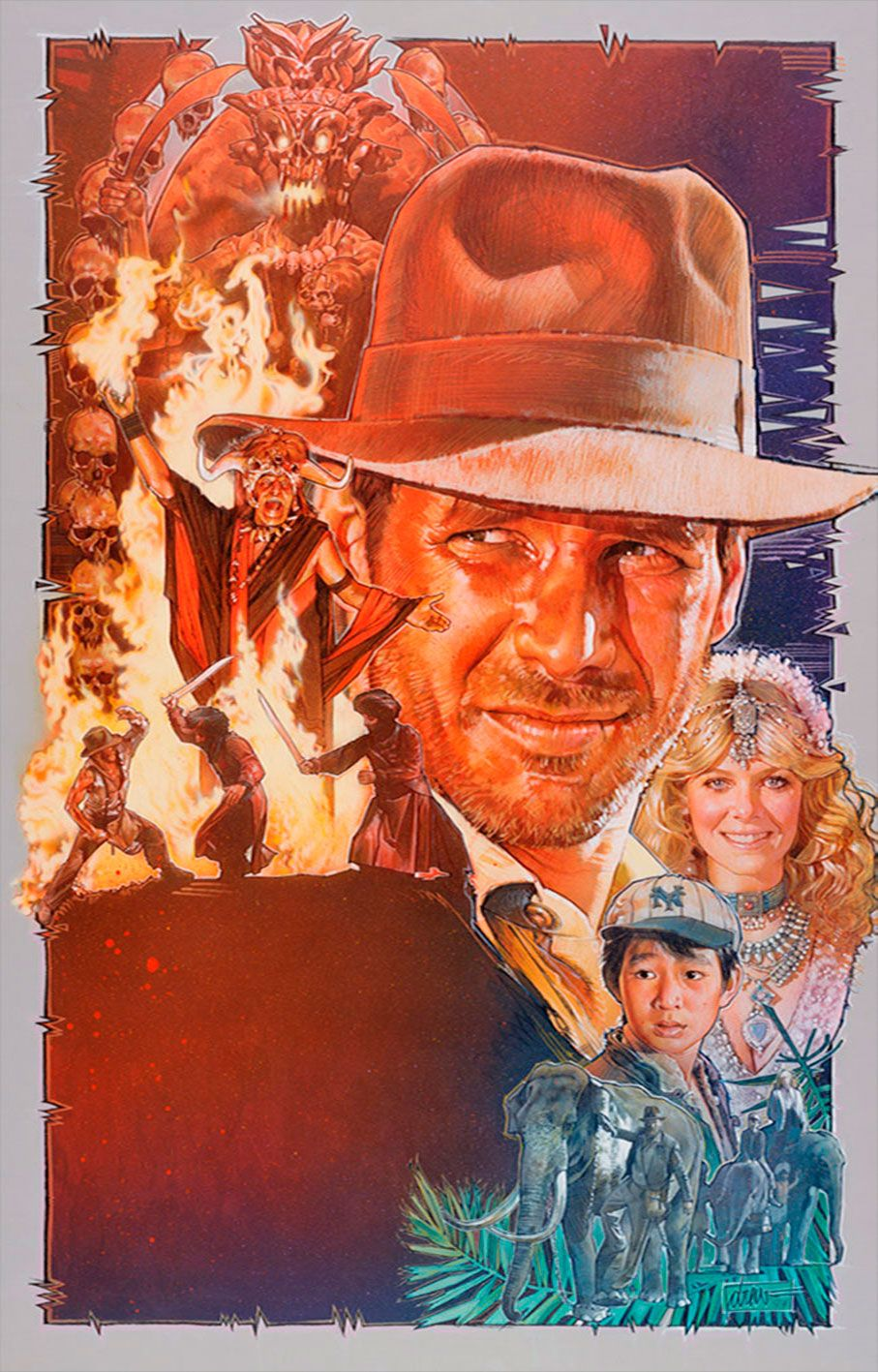 "Indiana Jones and the Temple of Doom  Medium: Acrylic paints & colored pencils on gessoed board Size: 30x40 inches Year 1984 If adventure has a name... it must be Indiana Jones. Signed and dated bottom right corner ""drew '84"" © Copyright Lucasfilm Ltd. 1984"