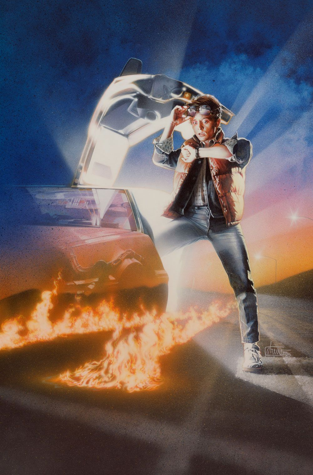 """Back to the Future I, II & III  Medium: Acrylic paints and colored pencils on gessoed board Size: 24x36 inch live art for each on 30x40 inch boards Year 1985 As the movie is one story in three parts, so the classic artwork cannot be seperated. They remain one.  Each one signed """"drew"""" and dated '85,'89 &'90 © Copyright Universal Studios 1985-1990"""