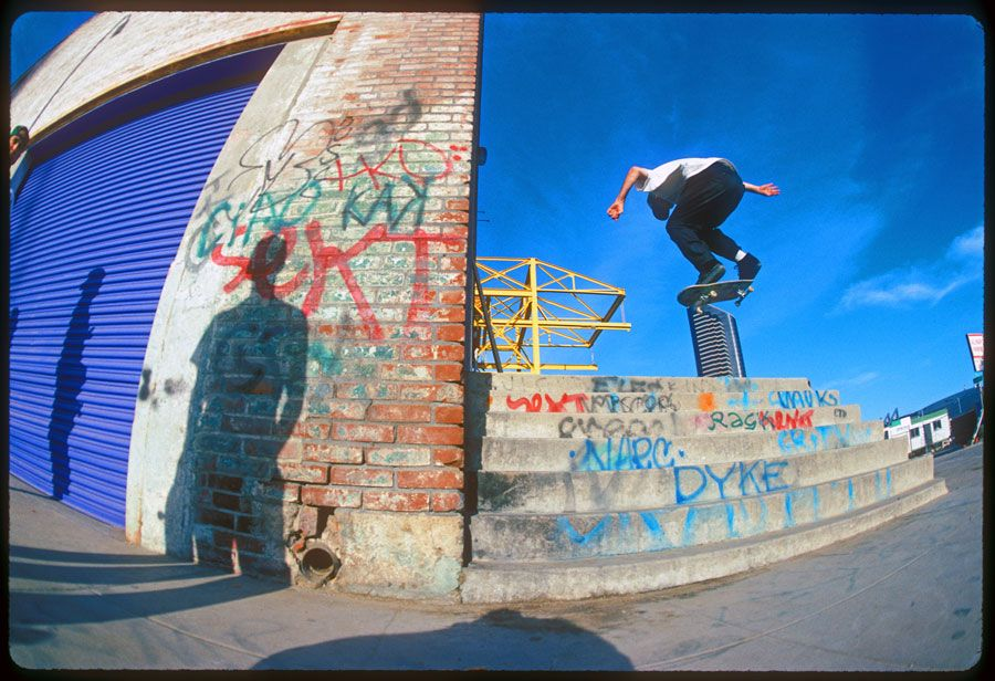 Ed Templeton goes blindside off a loading dock set, San Diego, California, 1993.
