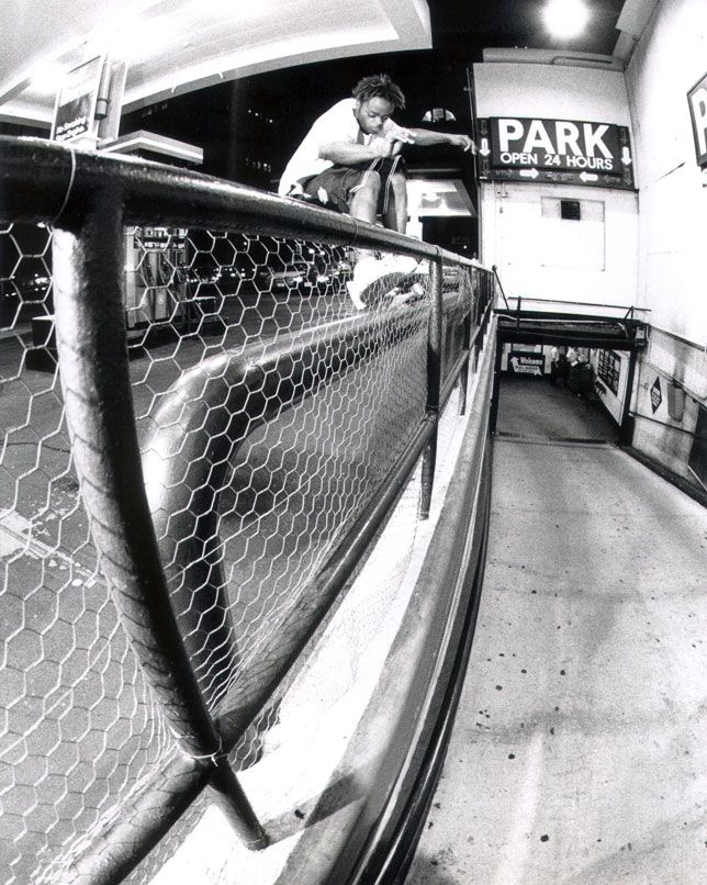 A memorable frontside 50-50 by New York's Harold Hunter, Manhattan, 1997.