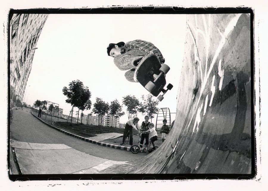 A handmade backside air over a handmade steel quarterpipe in the Russian Far East-Ivan Bogomolov, Vladivistok, Russia 1992.