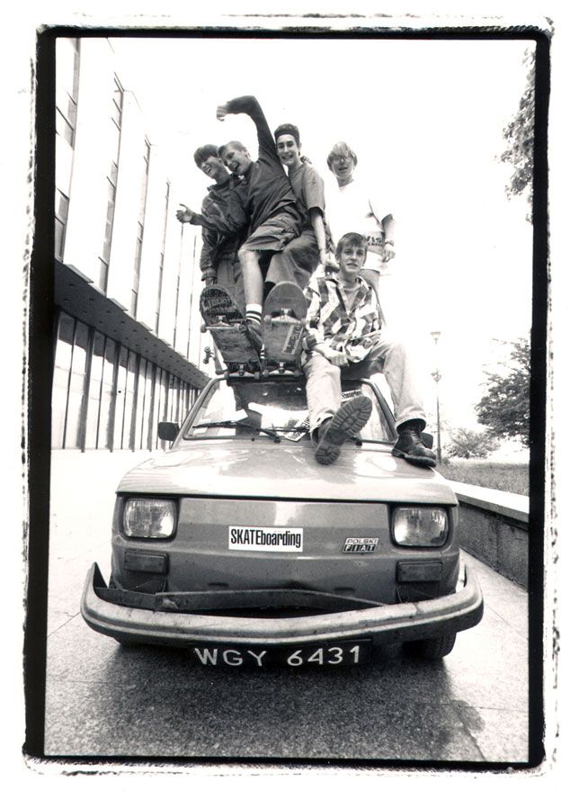 Polish skaters test the durability of a domestic vehicle on the streets of Warsaw, Poland 1992.