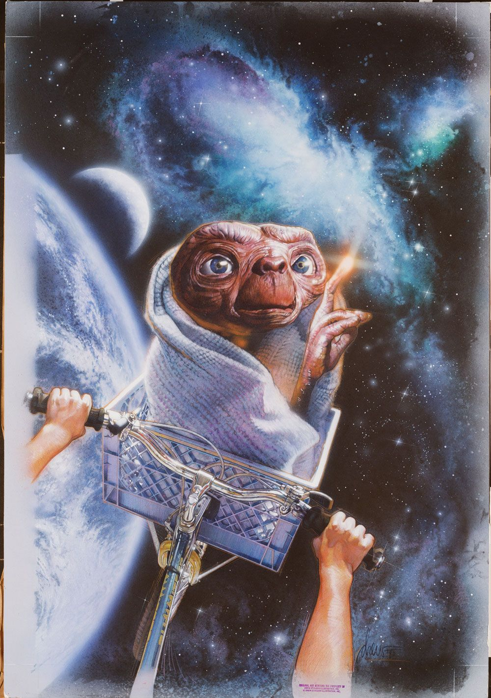 E.T. the Extraterrestrial Medium: Acrylics and colored pencils on gessoed board Size: 30x40 inches Year 1990 Director Steven Spielberg calls this piece of art the quintessential E.T.. It was reproduced as a poster, was used as the logo for Universal City Studios Parks, was seen on billboards and many products. Not bad for an ugly little guy from another planet, that's E. T. I mean. © Copyright Universal City Studios 1990
