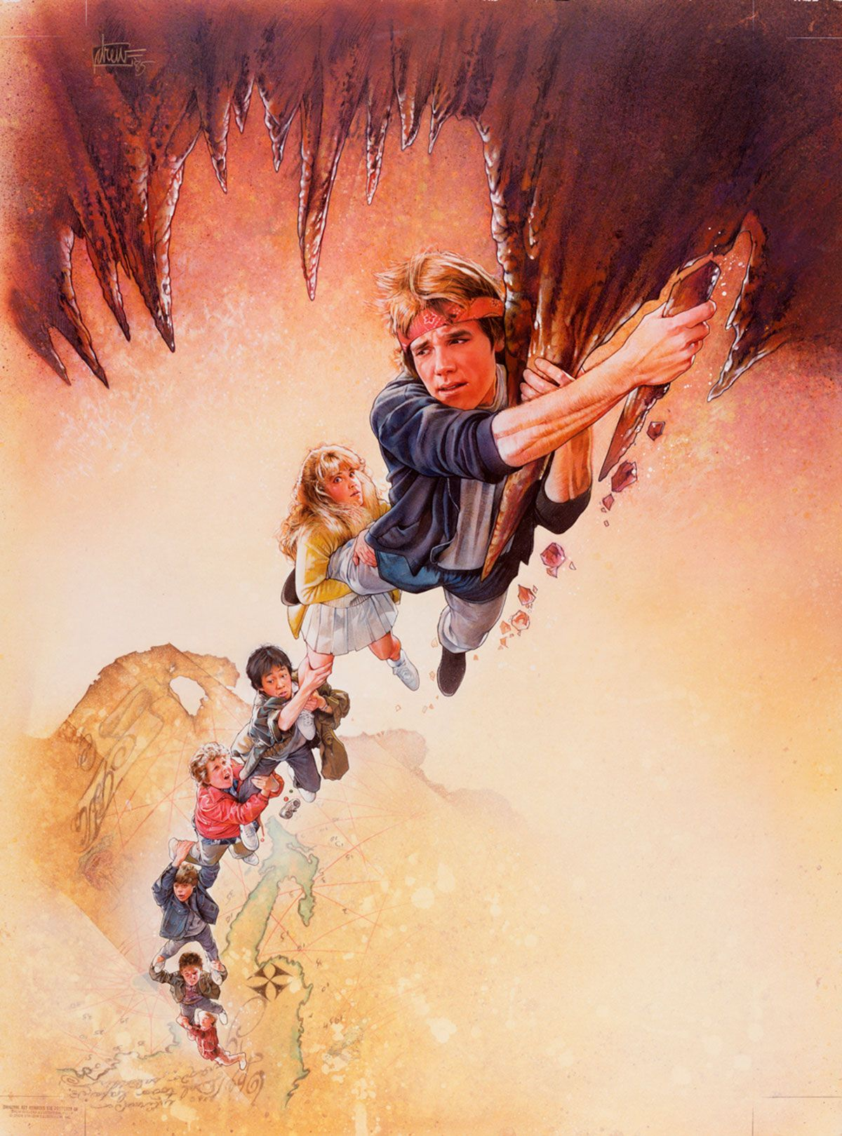 """Goonies, The Medium: Acrylic paints & colored pencils on gessoed board Size: 30x40 inches Year 1985 In the decades following its release, The Goonies has gained a cult following primarily comprising people who were children or teens in the 1980s. Signed upper left corner """"drew '85"""" © Copyright Warner Borthers Inc. 1985"""