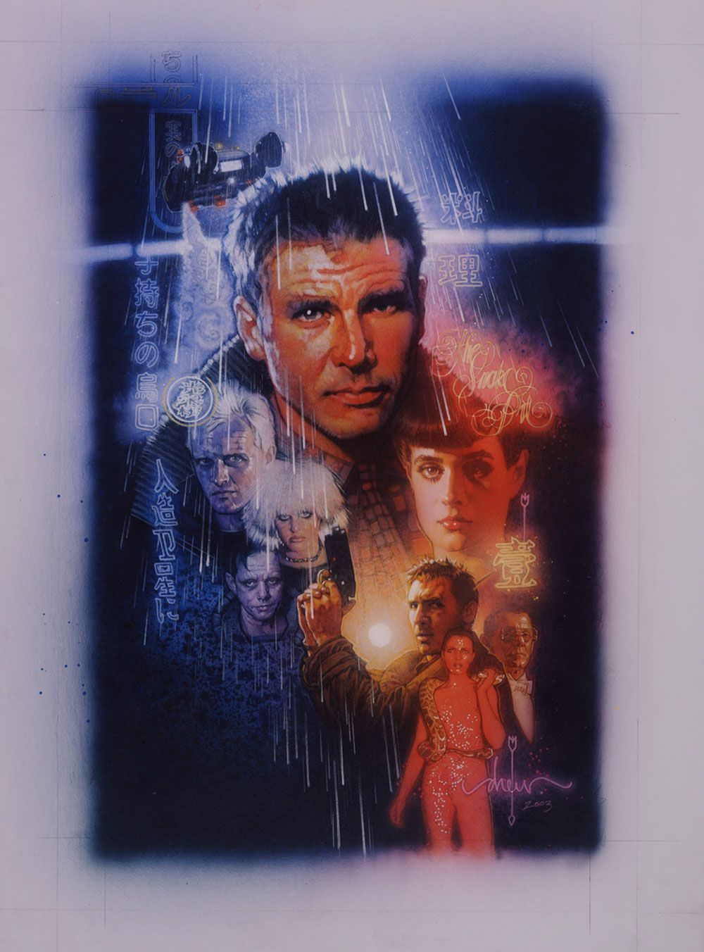 """Blade Runner Medium: Acrylic paints and colored pencils on gessoed board Size: 30x40 inches Year 2003 I began working on this piece of art way back in 1982 when I was commissioned by the Studio to explore concepts for the poster. I did one color comprehensive originally and from that made a few alterations as requested by the Studio. In the end, they did not use my design so I never painted the finished illustration. In 2001, when Ridley Scott was thinking of releasing a new director's version of the film, I was asked if my original sketch from '82 could be used on the cover. It turned out that this was Ridley's favorite artwork for his film. I went through the usual artist angst, rather than use a comprehensive for the cover, better to use finished art and if I'm going to paint the finish should it be the 20-year-old design or should it be updated. I decided on the latter. The DVD was produced at long last and this is now the cover (2007). Signed and dated bottom right corner """"drew 2003"""" © Copyright drew Struzan 2003"""