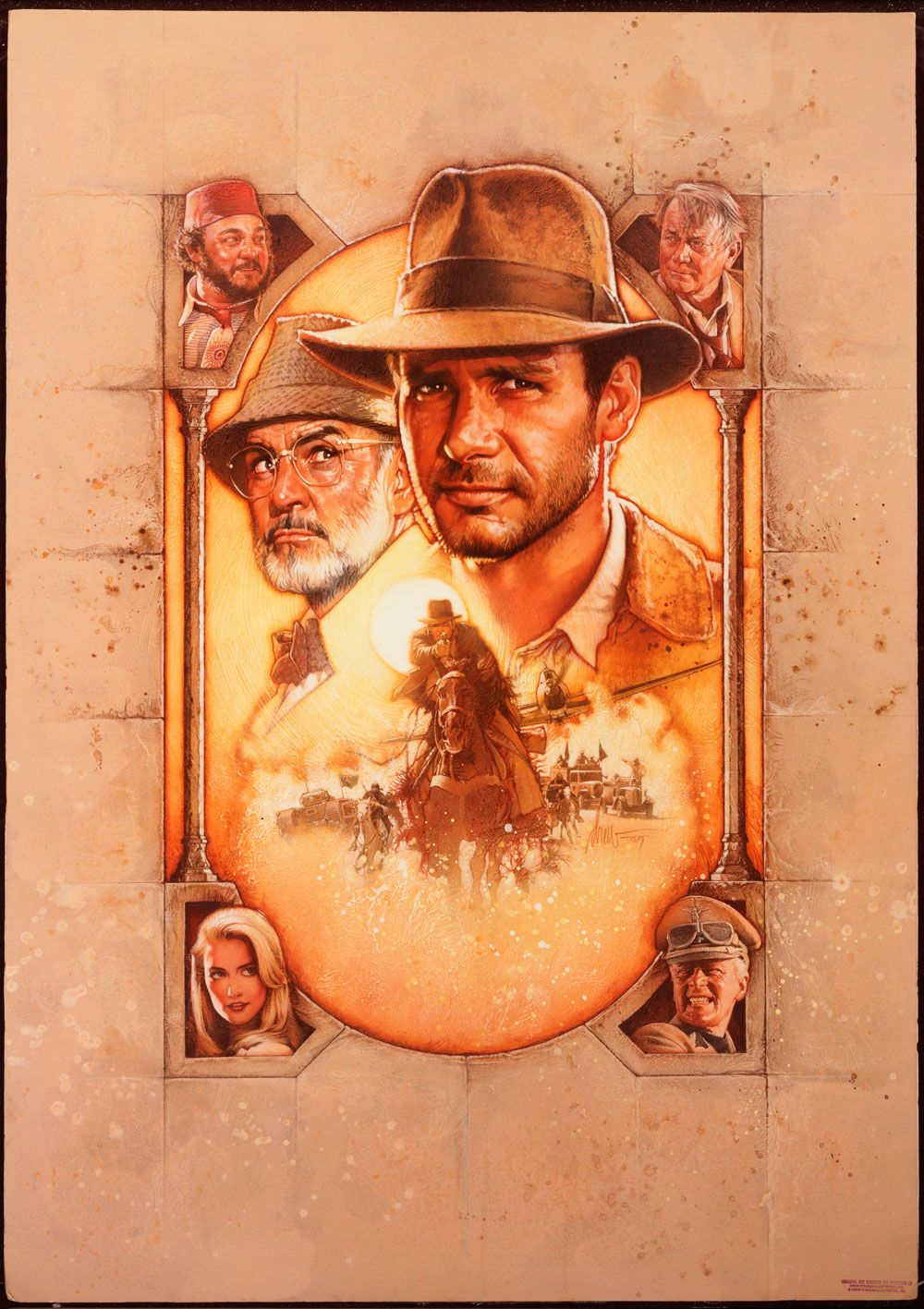 Indiana Jones and the Last Crusade Medium: Acrylic paints and colored pencils on gessoed board Size: 30x40 inches Year 1989 © Copyright Lucasfilm LTD. 1989