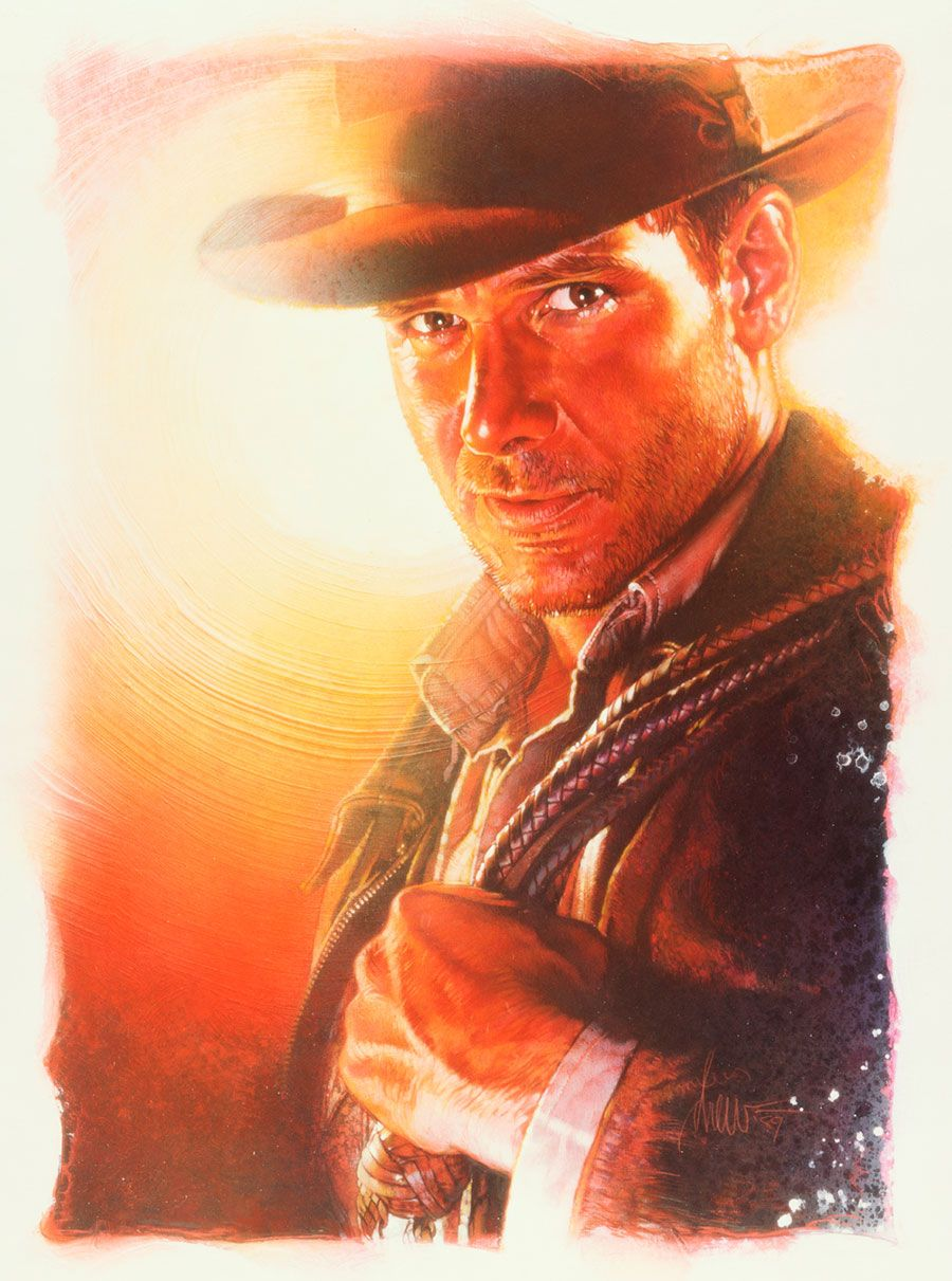 """Indiana Jones and the Last Crusade Medium: Acrylic paints and colored pencils on gessoed board Size: 30x40 inches Year 1989 This art is the advance poster,to many, the best of all Indy posters. Signed and dated """"drew '89"""" © Copyright Lucasfilm LTD. 1989"""