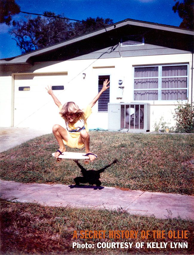 Kelly Lynn using straps to catch no-handed air before the invention of the Ollie in New Smyrna Beach, Florida, courtesy of Kelly Lynn
