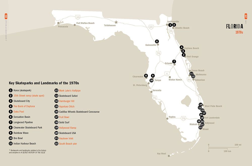 "Key skateparks and landmarks in Florida relative to the story in ""A Secret History of the Ollie."" Illustration from the book by Craig B. Snyder"