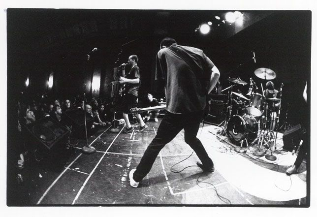 Fugazi perform at the temple of skate-video premieres-the La Paloma Theater in Encinitas, California 1990.