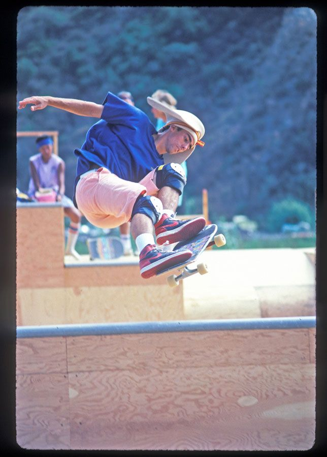 Lance Mountain slips a Lien to tail across the spine on the legendary Chin Ramp in Oceanside, California 1986.
